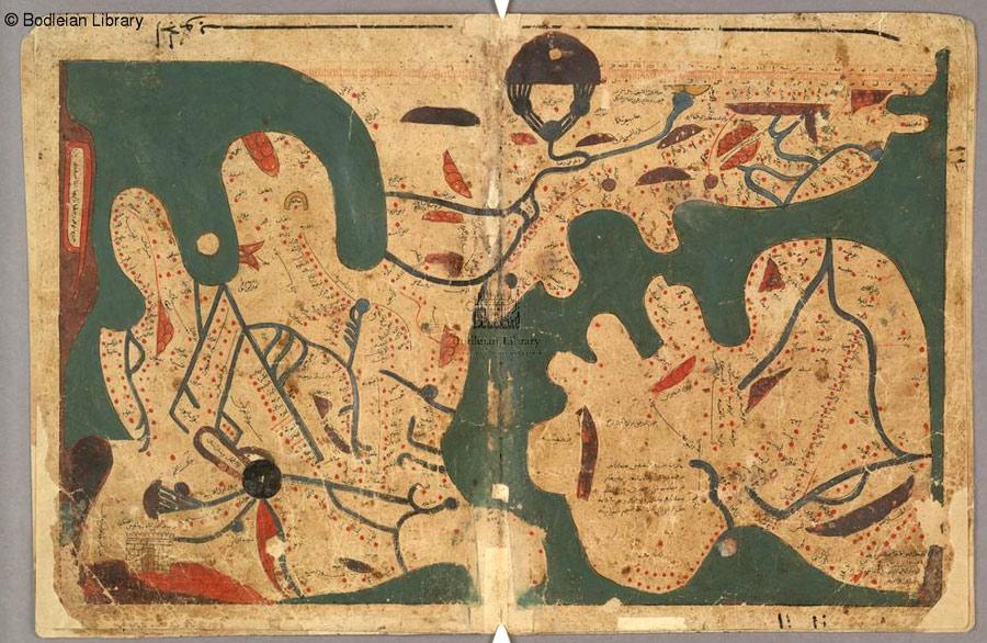 Pulsando en la imagen podrás ir al sitio donde se encuentra este mapa. Allí, pasando el cursor por encima de él, te irá mostrando a qué lugares de la actualidad corresponden. Así por ejemplo, podrás averiguar que parte del mapa corresponde a Al Andalus y localizar su capital Córdoba.