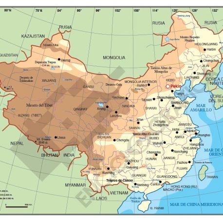 Mapa vectorial editable de China