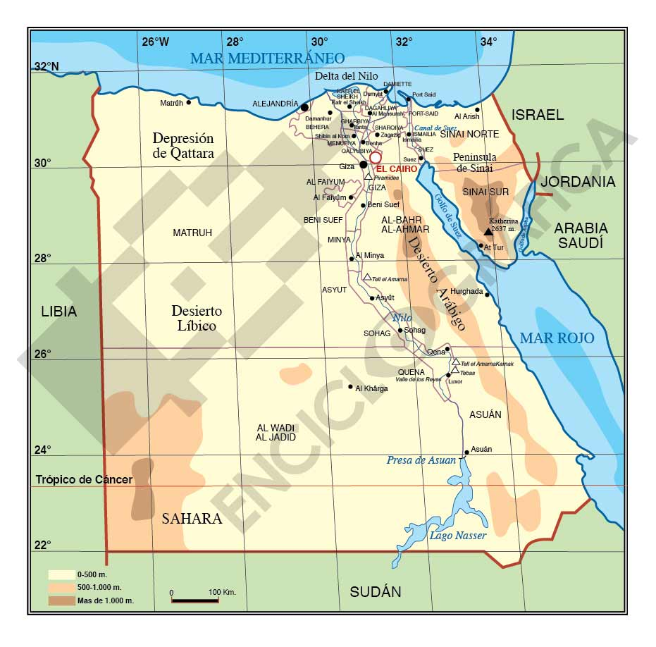 Mapa vectorial de Egipto