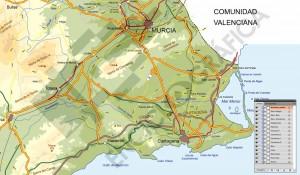 Detalle del mapa de Murcia