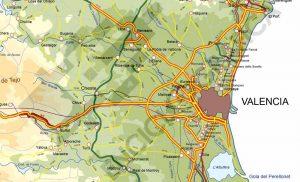 Detalle del mapa vectorial de Valencia