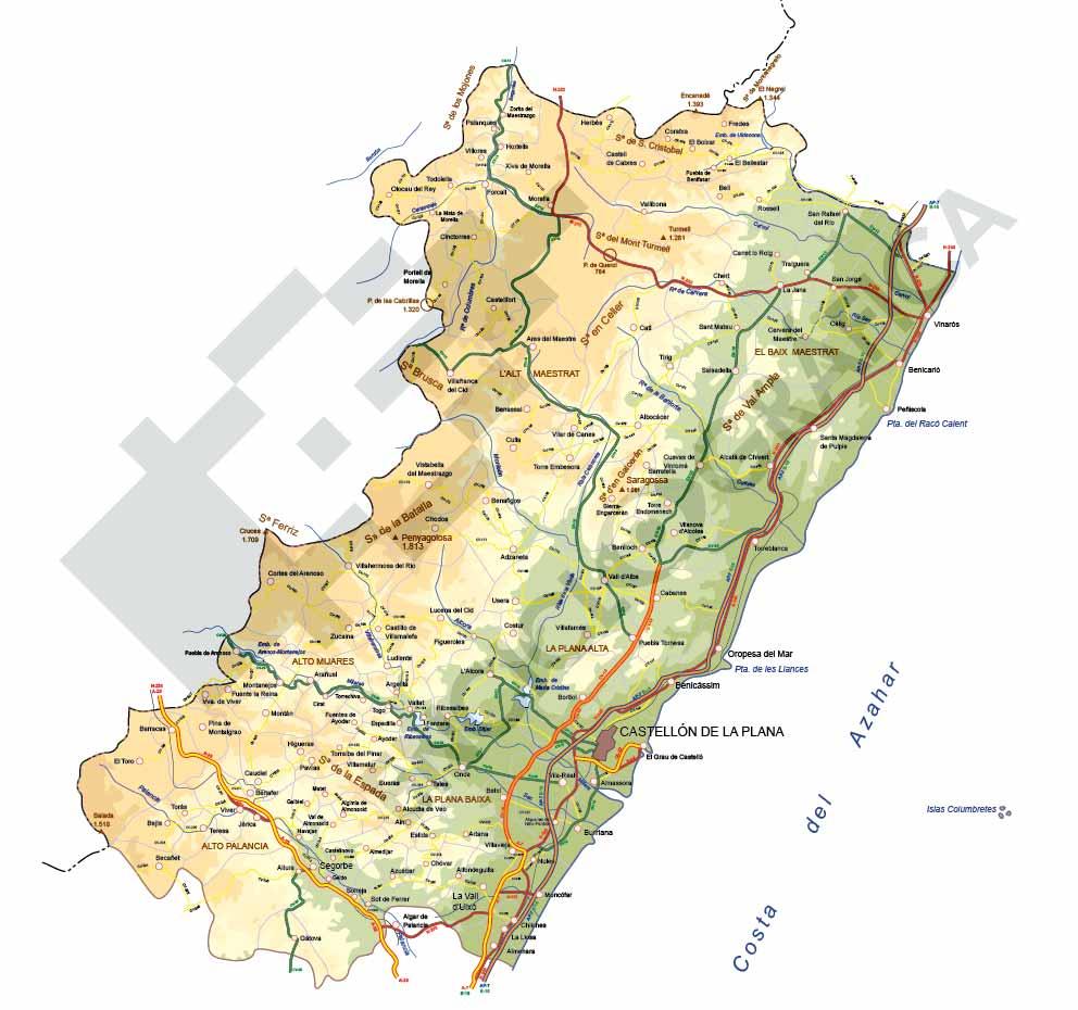 Mapa Editable De Castellon De La Plana