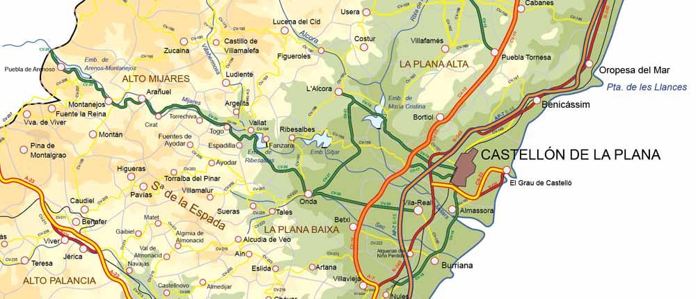 Plana De editable map of castellón de la plana spain