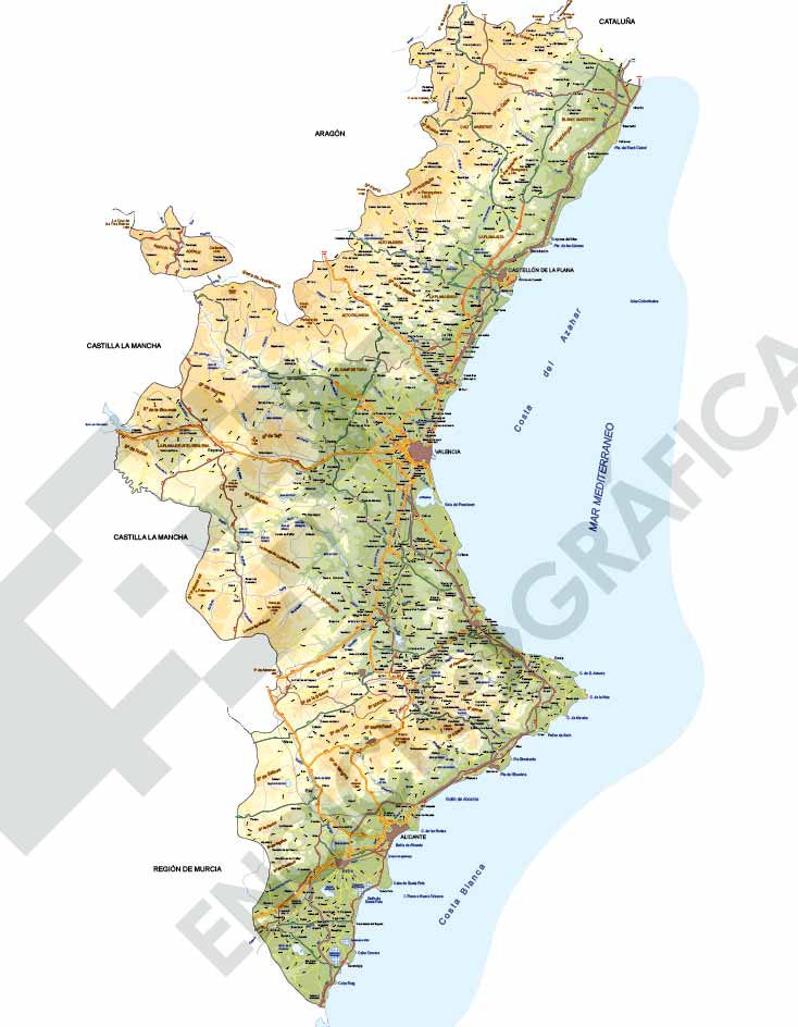 Mapa editable de la Comunidad Valenciana