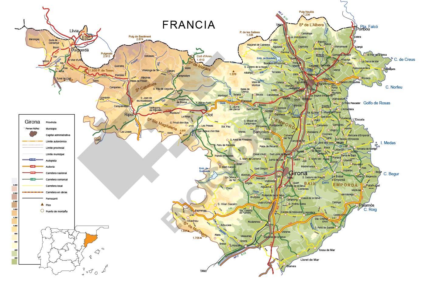 Mapa De Girona Provincia.Mapa Vectorial De Girona