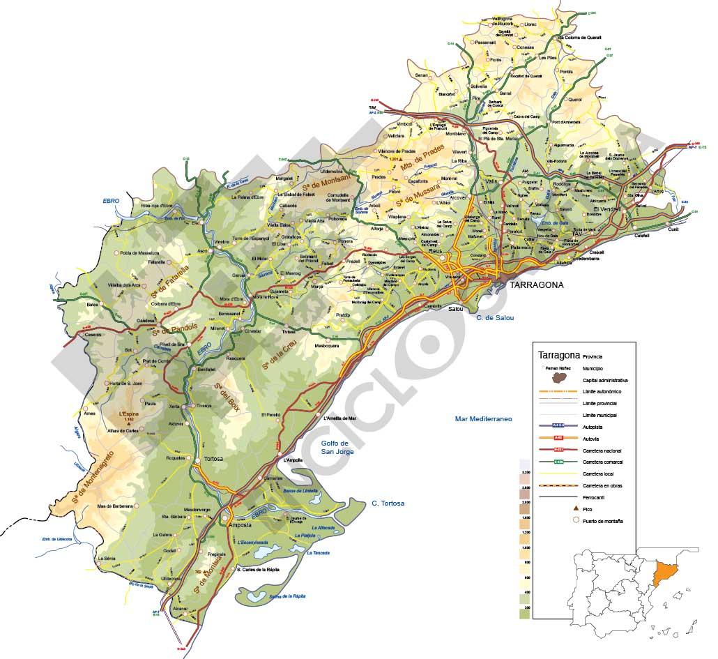 Mapa vectorial de Tarragona