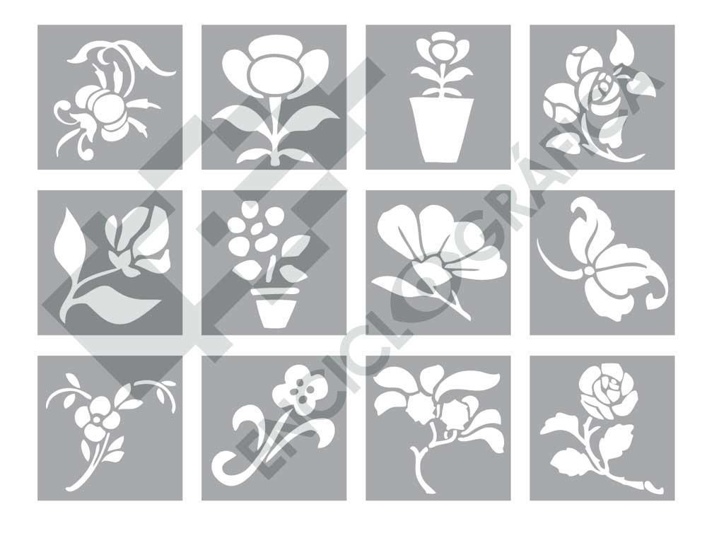 Pequeñas flores para stencil