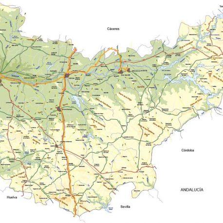 Mapa vectorial de Badajoz