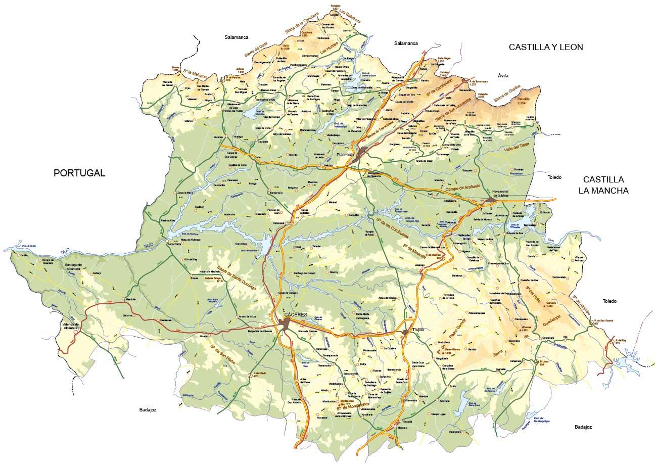 Mapa Vectorial Editable De Caceres
