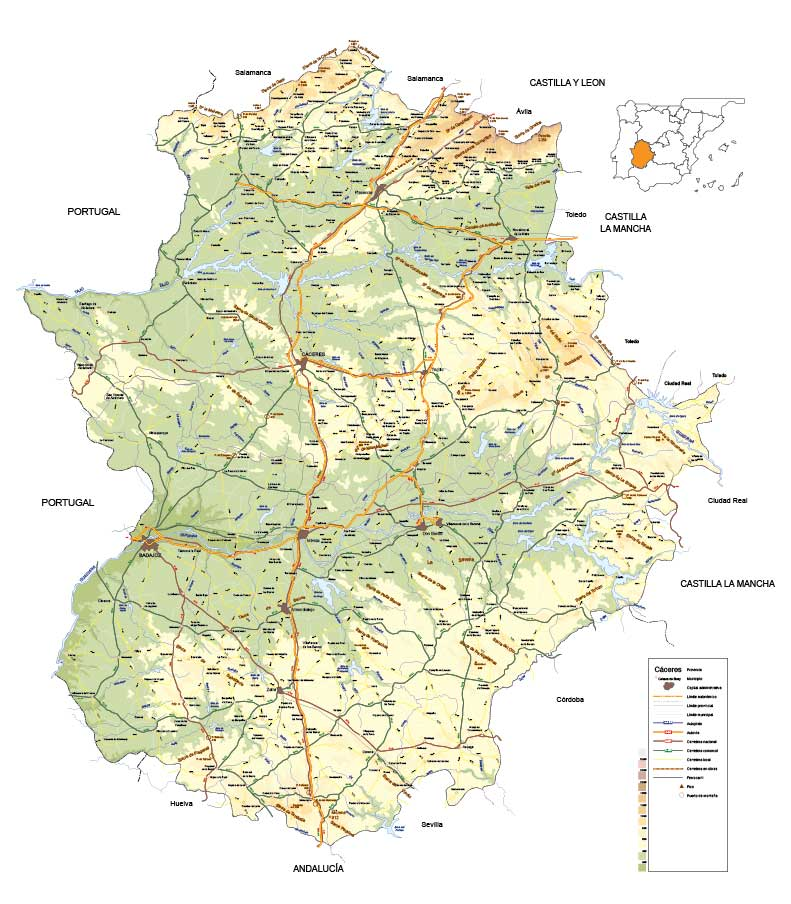 Editable vector map of the Community of Extremadura