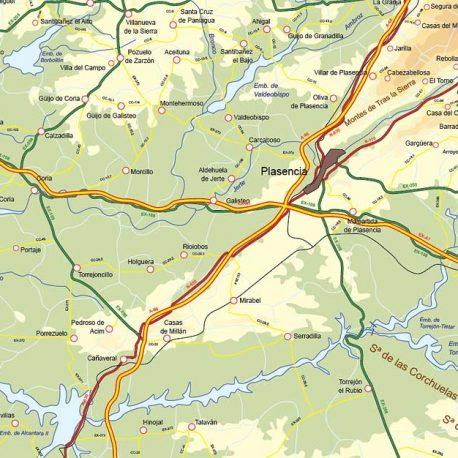 Mapa de Extremadura. detalle