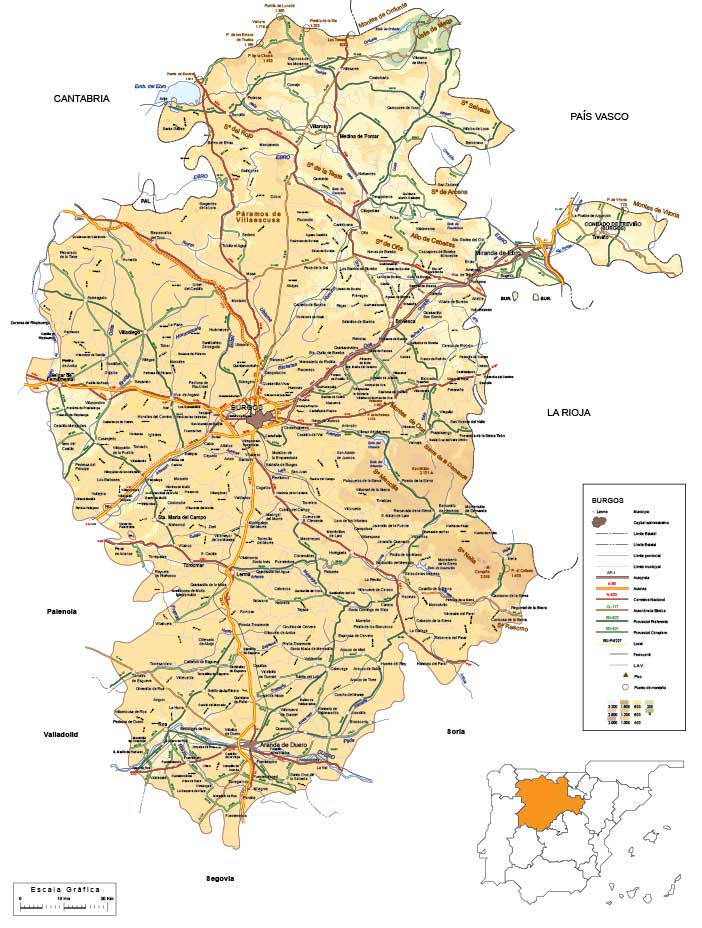 Mapa vectorial editable de Burgos