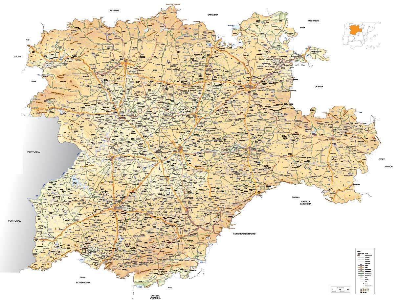 Mapa vectorial editable de Castilla-León