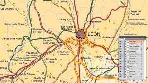 Mapa vectorial editable de León