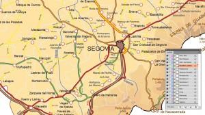 Mapa vectorial editable de Segovia