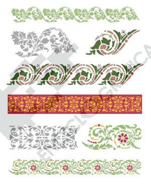 Cenefas de flores para stencil